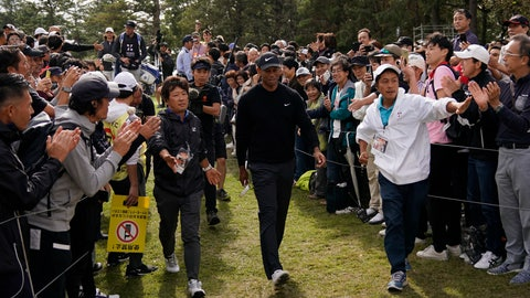 <p>               Tiger Woods of the United States walks to the 8th hole during the first round of the Zozo Championship PGA Tour at the Accordia Golf Narashino country club in Inzai, east of Tokyo, Japan, Thursday, Oct. 24, 2019. (AP Photo/Lee Jin-man)             </p>