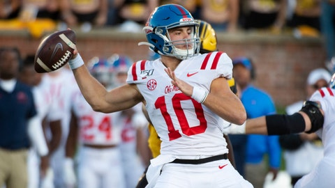 <p>               Mississippi quarterback John Rhys Plumlee throws a pass during the first half of an NCAA college football game against Missouri Saturday, Oct. 12, 2019, in Columbia, Mo. (AP Photo/L.G. Patterson)             </p>