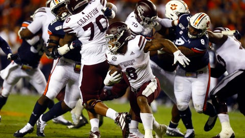 <p>               FILE - In this Sept. 28, 2019, file photo, Mississippi State running back Kylin Hill (8) carries the ball during the second half of an NCAA college football game against Auburn, in Auburn, Ala. Mississippi State's lack of a consistent passing attack is starting to hamper star running back Kylin Hill as opposing defenses focus on stopping the ground game. After rushing for over 100 yards in each of his first four games this year, Hill has been held below 50 yards in each of Mississippi State's last two games. Next up is No. 2 LSU (6-0, 2-0 SEC), which has the SEC's second-ranked run defense. (AP Photo/Butch Dill, File)             </p>