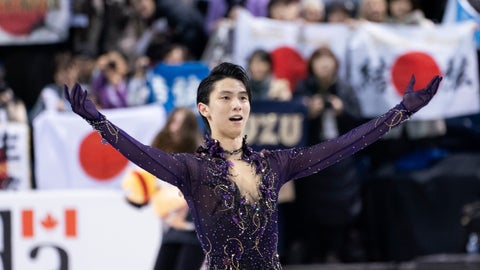 <p>               Yuzuru Hanyu, of Japan, salutes the crowd at the end of his free program in the men's competition at Skate Canada International in Kelowna, B.C., Canada, Saturday, Oct.26, 2019. (Paul Chiasson/The Canadian Press via AP)             </p>
