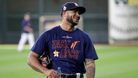 <p>               Houston Astros relief pitcher Josh James smiles during a practice day for baseball's World Series Monday, Oct. 21, 2019, in Houston. The Houston Astros face the Washington Nationals in Game 1 on Tuesday. (AP Photo/Eric Gay)             </p>