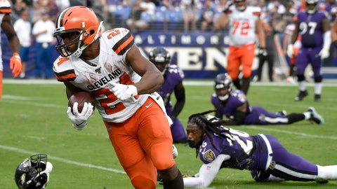<p>               Cleveland Browns running back Nick Chubb (24) prepares to cross the goal line after avoiding several tackles from Baltimore Ravens defenders during the second half of an NFL football game Sunday, Sept. 29, 2019, in Baltimore. (AP Photo/Brien Aho)             </p>