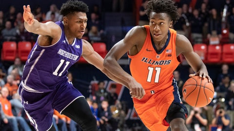 <p>               File- This March 3, 2019, file photo shows Illinois guard Ayo Dosunmu (11) driving to the basket against Northwestern guard Anthony Gaines (11) during the first half of an NCAA college basketball game in Champaign, Ill. Illinois is built around highly touted 6-foot-5 sophomore guard/forward  Dosunmu, who averaged 13.8 points per game last season. Dosunmu flirted with the NBA draft last season but returned to Illinois to lead a team known for its swarming defense and ability to score points in a hurry. (AP Photo/Stephen Haas, File)             </p>