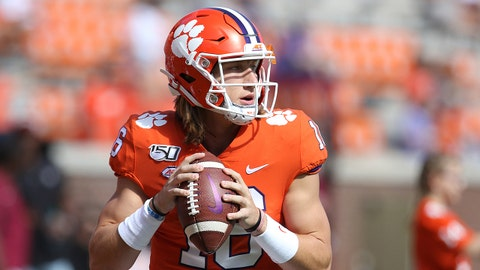 CLEMSON, SC - OCTOBER 12: Trevor Lawrence (16) quarterback of Clemson during a college football game between Florida State Seminoles and the Clemson Tigers on October 12, 2019, at Clemson Memorial Stadium in Clemson, SC. (Photo by John Byrum/Icon Sportswire via Getty Images)