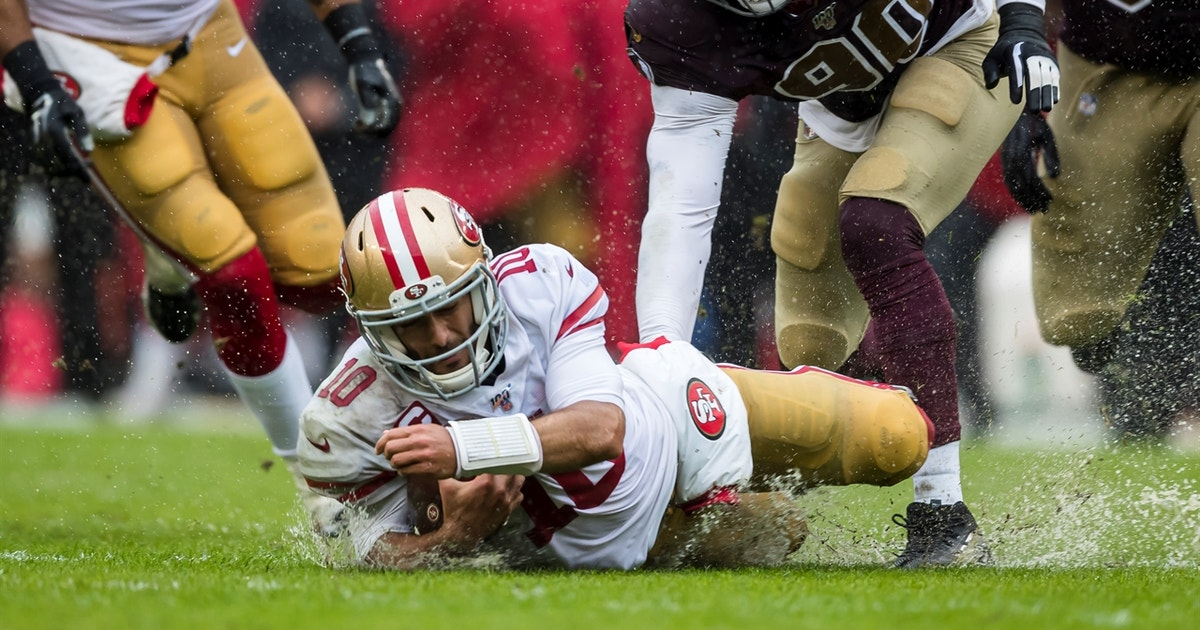 49ers shut out Redskins in messy, muddy, rain-drenched game to move to 6-0