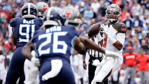 NASHVILLE, TENNESSEE - OCTOBER 27: Jameis Winston #3 of the Tampa Bay Buccaneers throws the ball during the NFL football game against the Tennessee Titansat Nissan Stadium on October 27, 2019 in Nashville, Tennessee. (Photo by Bryan Woolston/Getty Images)