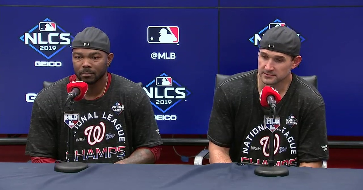 NLCS MVP Howie Kendrick and Ryan Zimmerman at the podium after Nationals clinch NLCS