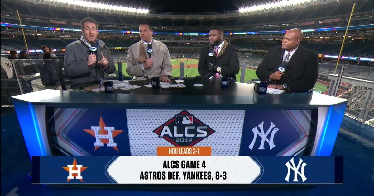 Alex Rodriguez, David Ortiz and Frank Thomas react to the Astros dominate win in Game 4