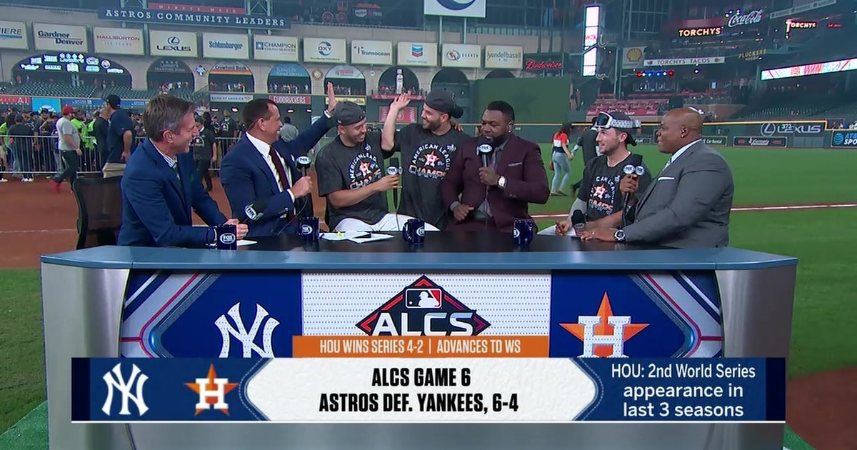 Jose Altuve and Alex Bregman crash Carlos Correa's postgame interview with the MLB on FOX crew