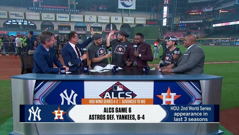 Jose Altuve and Alex Bregman crash Carlos Correa's postgame interview with the MLB on FOX crew