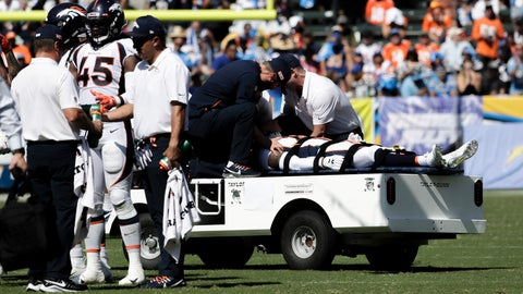 <p>               FILE - In this  Sunday, Oct. 6, 2019 file photo, Denver Broncos cornerback DeVante Bausby is taken off the field after being hurt during the first half of an NFL football game against the Los Angeles Chargers, in Carson, Calif. Broncos cornerback De'Vante Bausby says he was paralyzed for 30 minutes Sunday after he wrenched his neck colliding with linebacker Alexander Johnson while making a tackle on Chargers running back Austin Ekeler. (AP Photo/Alex Gallardo, File)             </p>