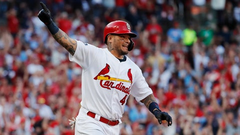 <p>               St. Louis Cardinals' Yadier Molina reacts after hitting an RBI-single during the eighth inning in Game 4 of a baseball National League Division Series against the Atlanta Braves, Monday, Oct. 7, 2019, in St. Louis. (AP Photo/Jeff Roberson)             </p>