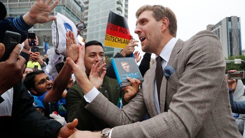 <p>               Former Dallas Mavericks and NBA basketball player Dirk Nowitzki, of Germany, greets fans after unveiling a sign for a street named after him in Dallas, Wednesday, Oct. 30, 2019. (AP Photo/LM Otero)             </p>