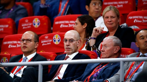 <p>               FILE - In this Sept. 13, 2019, file photo, NBA Commissioner Adam Silver, second from left, attends the semifinal match between Argentina and France in the FIBA Basketball World Cup at the Cadillac Arena in Beijing. The multibillion-dollar relationship between China and the NBA is strained right now in ways unlike any other since the league first began planting roots there three decades ago. (AP Photo/Mark Schiefelbein, File)             </p>