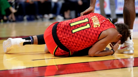 <p>               Atlanta Hawks guard Trae Young (11) lies on the court after an injury during the first half of the team's NBA basketball game against the Miami Heat, Tuesday, Oct. 29, 2019, in Miami. (AP Photo/Lynne Sladky)             </p>