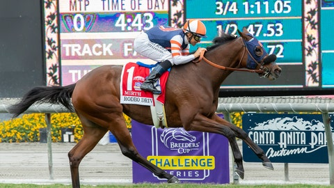 <p>               In a photo provided by Benoit Photo, Little Red Feather Racing's Mirth and jockey Mike Smith win the Grade I, $300,000 Rodeo Drive Stakes, Saturday, Sept. 28, 2019 at Santa Anita Park in Arcadia, Calif. (Benoit Photo via AP)             </p>