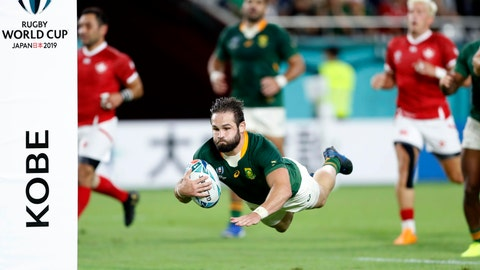 <p>               South Africa's Cobus Reinach is airborne as dives to the line to score a try during the Rugby World Cup Pool B game at Kobe Misaki Stadium between South Africa and Canada in Kobe, Japan, Tuesday, Oct. 8, 2019. (Kyodo News via AP)             </p>