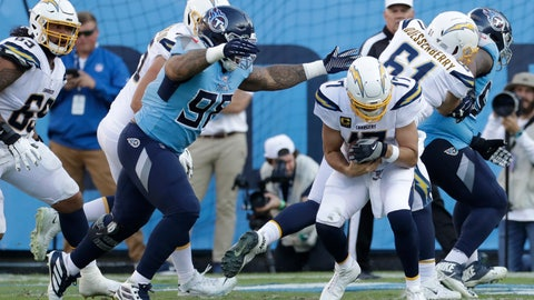<p>               Tennessee Titans defensive lineman Jeffery Simmons (98) sacks Los Angeles Chargers quarterback Philip Rivers (17) for a 3-yard loss in the second half of an NFL football game Sunday, Oct. 20, 2019, in Nashville, Tenn. (AP Photo/James Kenney)             </p>