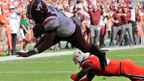 <p>               Virginia Tech quarterback Hendon Hooker (2) dives for a touchdown over Miami safety Robert Knowles (20) during the first half of an NCAA college football game, Saturday, Oct. 5, 2019, in Miami Gardens, Fla. (AP Photo/Lynne Sladky)             </p>