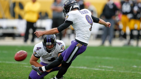 <p>               Baltimore Ravens kicker Justin Tucker (9) kicks a field goal as Sam Koch (4) holds to defeat the Pittsburgh Steelers in overtime of an NFL football game, Sunday, Oct. 6, 2019, in Pittsburgh. The Ravens won 26-23. (AP Photo/Don Wright)             </p>