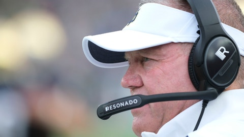 <p>               Notre Dame head coach Brian Kelly watchs from he sideline as his team played Virginia in the second half of an NCAA college football game in South Bend, Ind., Saturday, Sept. 28, 2019. Notre Dame won 35-20. (AP Photo/AJ Mast)             </p>