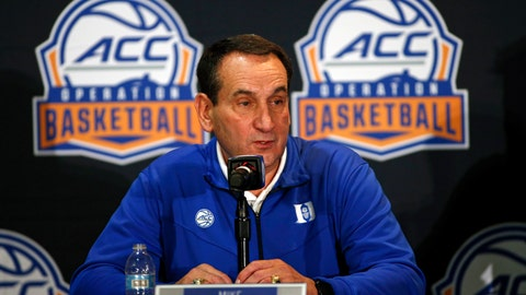 <p>               Duke coach Mike Krzyzewski answers a question during the Atlantic Coast Conference NCAA college basketball media day in Charlotte, N.C., Tuesday, Oct. 8, 2019. (AP Photo/Nell Redmond)             </p>