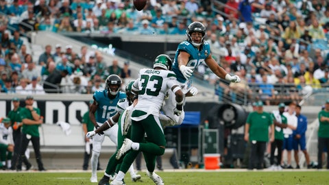<p>               Jacksonville Jaguars tight end Josh Oliver, top right, cannot make a reception as he is hit by New York Jets strong safety Jamal Adams (33) during the first half of an NFL football game, Sunday, Oct. 27, 2019, in Jacksonville, Fla. (AP Photo/Stephen B. Morton)             </p>