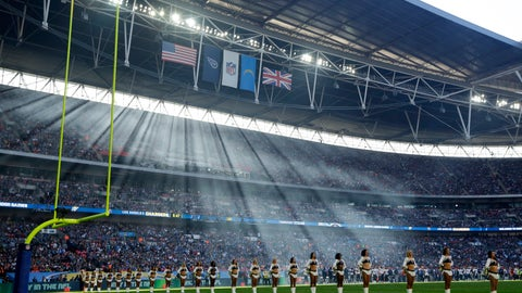 <p>               FILE - In this Oct. 21, 2018, file photo, cheerleaders line up before an NFL football game between Tennessee Titans and the Los Angeles Chargers at Wembley Stadium in London. As the league celebrates its 100th season, it continues to expand its foreign footprint with five international games in 2019. Four are in London, including two at Wembley Stadium, and the league returns to Mexico. (AP Photo/Matt Dunham, File)             </p>