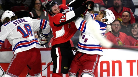 <p>               Ottawa Senators defenseman Thomas Chabot (72) tangles with New York Rangers center Vladislav Namestnikov (90) during the first period of an NHL hockey game, Saturday, Oct. 5, 2019 in Ottawa, Ontario. (Justin Tang/The Canadian Press via AP)             </p>