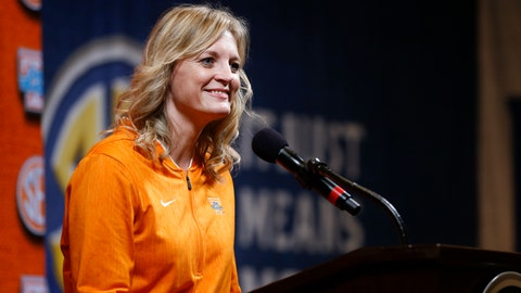 <p>               Tennessee head coach Kellie Harper speaks during the Southeastern Conference NCAA college basketball media day, Thursday, Oct. 17, 2019, in Birmingham, Ala. (AP Photo/Butch Dill)             </p>
