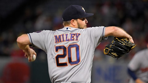 <p>               Houston Astros starting pitcher Wade Miley throws to the plate during the first inning of a baseball game against the Los Angeles Angels, Thursday, Sept. 26, 2019, in Anaheim, Calif. (AP Photo/Mark J. Terrill)             </p>