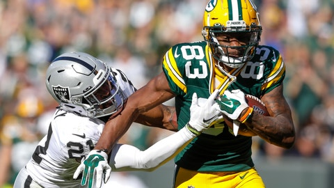 <p>               Green Bay Packers' Marquez Valdes-Scantling catches a long pass in front of Oakland Raiders' Gareon Conley during the second half of an NFL football game Sunday, Oct. 20, 2019, in Green Bay, Wis. (AP Photo/Jeffrey Phelps)             </p>