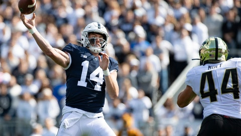 <p>               Penn State quarterback Sean Clifford (14) passes over Purdue linebacker Ben Holt (44) in the second quarter of an NCAA college football game in State College, Pa., on Saturday, Oct. 5, 2019. (AP Photo/Barry Reeger)             </p>