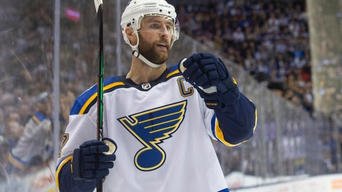 <p>               St. Louis Blues defencseman Alex Pietrangelo (27) celebrates after scoring against the Toronto Maple Leafs during third-period NHL hockey game action in Toronto, Monday, Oct. 7, 2019. (Chris Young/The Canadian Press via AP)             </p>
