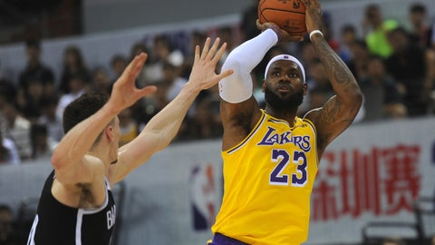<p>               Los Angeles Lakers' LeBron James in action during a match against Brooklyn Nets at the NBA China Games 2019 in Shenzhen in south China's Guangdong province on Saturday, Oct. 12, 2019 (Color China Photo via AP)             </p>