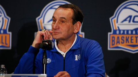 <p>               Duke coach Mike Krzyzewski listens to a question during the Atlantic Coast Conference NCAA college basketball media day in Charlotte, N.C., Tuesday, Oct. 8, 2019. (AP Photo/Nell Redmond)             </p>
