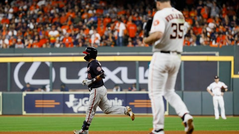 <p>               Washington Nationals' Kurt Suzuki rounds the bases after a home run off Houston Astros starting pitcher Justin Verlander during the seventh inning of Game 2 of the baseball World Series Wednesday, Oct. 23, 2019, in Houston. (AP Photo/Matt Slocum)             </p>