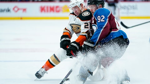 <p>               Colorado Avalanche left wing Gabriel Landeskog (92) and Anaheim Ducks center Devin Shore (29) go after the puck during the first period of an NHL hockey game Saturday, Oct. 26, 2019, in Denver. (AP Photo/Jack Dempsey)             </p>