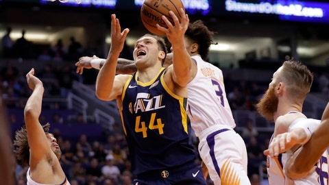<p>               Utah Jazz forward Bojan Bogdanovic (44) shoots against the Phoenix Suns during the first half of an NBA basketball game, Monday, Oct. 28, 2019, in Phoenix. (AP Photo/Matt York)             </p>