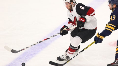 <p>               Arizona Coyotes forward Nick Schmaltz (8) controls the puck during the first period of an NHL hockey game against the Buffalo Sabres, Monday, Oct. 28, 2019, in Buffalo N.Y. (AP Photo/Jeffrey T. Barnes)             </p>