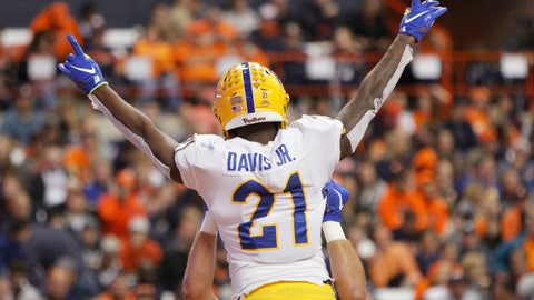 <p>               Pittsburgh's A.J. Davis celebrates after scoring a touchdown during the second quarter of the team's NCAA college football game against Syracuse in Syracuse, N.Y., Friday, Oct. 18, 2019. (AP Photo/Nick Lisi)             </p>