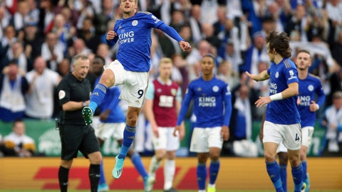<p>               Leicester City's Jamie Vardy celebrates scoring his side's first goal of the game against Burnley, during their English Premier League soccer match at the King Power Stadium in Leicester, England, Saturday Oct. 19, 2019. (Nigel French/PA via AP)             </p>