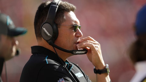 <p>               Carolina Panthers head coach Ron Rivera stands on the sidelines during the second half of an NFL football game against the San Francisco 49ers in Santa Clara, Calif., Sunday, Oct. 27, 2019. (AP Photo/Ben Margot)             </p>
