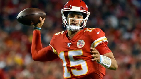 <p>               FILE - In this Oct. 6, 2019, file photo, Kansas City Chiefs quarterback Patrick Mahomes throws a pass during the first half of the team's NFL football game against the Indianapolis Colts in Kansas City, Mo. Mahomes has thrown 202 consecutive passes without an interception. (AP Photo/Ed Zurga, File)             </p>