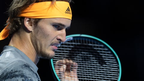 <p>               Germany's Alexander Zverev reacts as he plays Taylor Fritz of the United States during their first round match at the Swiss Indoors tennis tournament at the St. Jakobshalle in Basel, Switzerland, on Tuesday, October 22, 2019. (Georgios Kefalas, Keystone via AP)             </p>