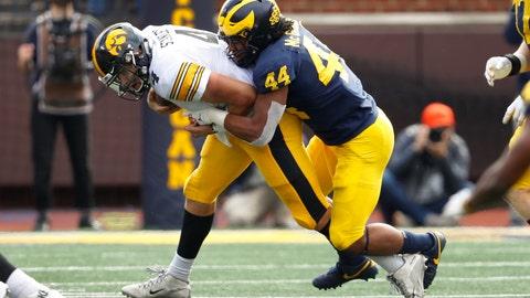 <p>               Michigan linebacker Cameron McGrone (44) sacks Iowa quarterback Nate Stanley (4) during the second half of an NCAA college football game in Ann Arbor, Mich., Saturday, Oct. 5, 2019. (AP Photo/Paul Sancya)             </p>