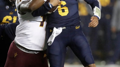 <p>               Arizona State's George Lea, left, tackles California quarterback Devon Modster (6) in the first half of an NCAA college football game, Friday, Sept. 27, 2019, in Berkeley, Calif. (AP Photo/Ben Margot)             </p>
