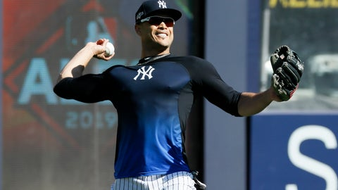 <p>               New York Yankees left fielder Giancarlo Stanton throws in the outfield before Game 3 of baseball's American League Championship Series against the Houston Astros, Tuesday, Oct. 15, 2019, in New York. (AP Photo/Matt Slocum)             </p>