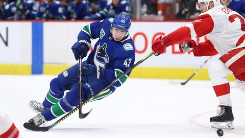 <p>               Vancouver Canucks' Quinn Hughes (43) is tripped by Detroit Red Wings' Mike Green (25) during the second period of an NHL hockey game Tuesday, Oct. 15, 2019, in Vancouver, British Columbia. (Ben Nelms/The Canadian Press via AP)             </p>