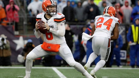 <p>               Cleveland Browns quarterback Baker Mayfield drops back to pass against the New England Patriots in the first half of an NFL football game, Sunday, Oct. 27, 2019, in Foxborough, Mass. (AP Photo/Elise Amendola)             </p>